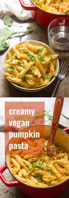 Penne is drenched in a silky cashew pumpkin sauce and seasoned with savory sage and a dash of nutmeg to make this creamy vegan pumpkin pasta.