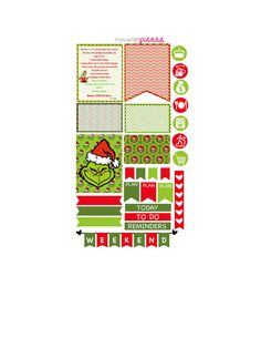 THE GRINCH WEEKLY Planner theme sticker set by PlanwithPizazz