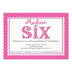 28 best 6th birthday party invitations images on pinterest polka dot alphabet sixth birthday party invitation filmwisefo