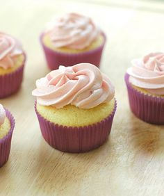 vanilla cupcakes + lemon-raspberry buttercream #recipe