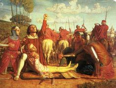 William Holman Hunt - Rienzi. Rienzi Vowing to Obtain Justice for the Death of his Young Brother. Slain in a Skirmish between the Colonna and Orsini Factions, 1848-9, oil on canvas. The subject is taken from Bulwer Lytton's (famous then, almost forgotten today) Rienzi, the last of the Roman Tribunes.