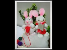 How to make rabbit stocking flower by www.ployandpoom.com - YouTube