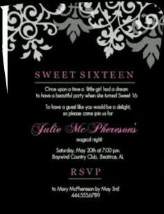 Sweet 16 Invite Words