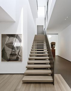 Love this feeling for next design. Staircase gallery + skylight. House in Belgium by Marc Corbiau.