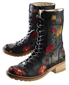 black *Deerberg* booties with flower embroidery <3