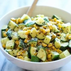 Parmesan Zucchini and Corn - A healthy 10 minute side dish to dress up any meal. It