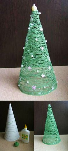 Sapin de Noel en fil – Christmas tree in thread – # wire # Christmas Christmas Tree Yarn, Christmas Crafts, Christmas Decorations, Christmas Ornaments, Holiday Decor, Navidad Diy, Navidad Ideas, Diy Design, Easy Diy