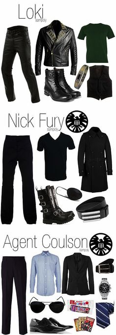 """Part 3 Men's versions of Marvel's """"The Avengers"""" outfits - Loki, Nick Fury and Agent Coulson!"""