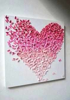 vlinders vormen een hart (op canvas geplakt) vlinders gemaakt van een grote vlinder pons  (kan je bestellen bij: opitec. com artikel nr: 500041)