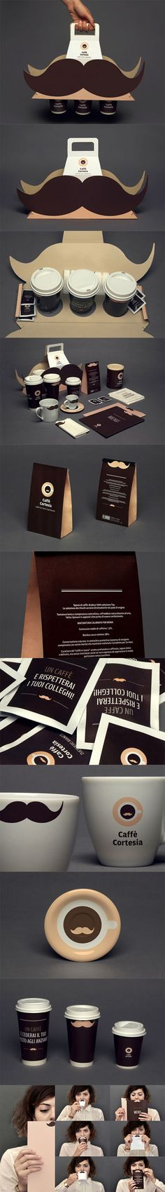 A most popular pin that just made the 500 club via Packaging of the World: Creative Package Design Archive and Gallery: Caffè Cortesia PD. We love those mustaches! Corporate Design, Corporate Identity, Visual Identity, Branding Design, Logo Design, Cool Packaging, Coffee Packaging, Brand Packaging, Packaging Nets
