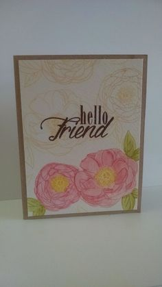 Hello Friend by MeganBeth - Cards and Paper Crafts at Splitcoaststampers.  Papertrey Ink, PTI.  Peonies on Parade.