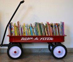 Old wagon as bookshelf. Cute for kids story books... Totally had the idea in my mind before seeing it here :)