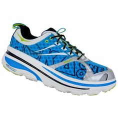 Hoka One One Bondi 2 - Cyan/White/Lime- Front View.  These are for my recovery days or when coming back from an injury. Look heavy but are light and very cushy.