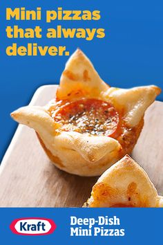 Easy to make? You bet. Whether you're serving them as a fun dinner side or a snack for their friends, these fast mini pies are bursting with cheesy pizza flavor. Pizza Recipes, Pork Recipes, Appetizer Recipes, Chicken Recipes, Cooking Recipes, Halibut Recipes, Dinner Recipes, Frittata Recipes, Cooking Food