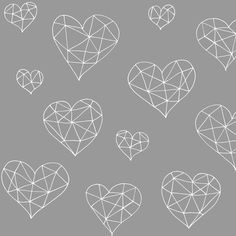 Geometric hearts greyling fabric by smuk on Spoonflower - custom fabric
