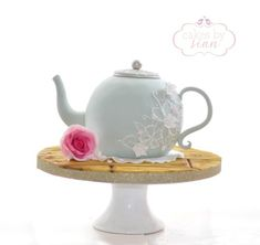 Really enjoyed making this little teapot cake! It's all edible, I used a Crystal Candy lace mould for the top and added some pretty brush embroidery to finish it off. Hope you like it :) Thanks, Sian x Tea Party Birthday, Cool Birthday Cakes, 2nd Birthday, Birthday Ideas, Biscuit, Teapot Cake, Single Tier Cake, Bridal Shower Tea, Baby Shower