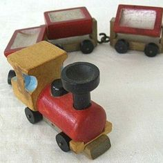1960s Babys First Miniature Wood Toy Train