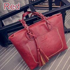 Women Handbags Vintage Bags Retro PU Leather Tote Bag For Girl Large Handbag  Women Tassel Casual Hand Bag Shoulder Sac Femme 704 74dcf5f808a9c