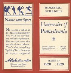 Basketball schedule, 1928-1929, cover