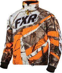 FXR Racing - 2015 Snowmobile Apparel - Men's Cold Cross Jacket - Realtree Xtra/Blaze