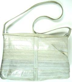 Lee Sands Women Shoulder Bag Gray Eel Skin Nylon Lining.  TTT 110 #LeeSands #EveningBag