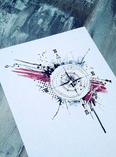 eine idee für einen schwarzen tattoo mit einem schwarzen kompass   ein blatt papier mit einer idee für einer compass tätowierung . tattoo vorlage