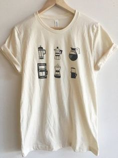 Hand Printed and Hand Drawn! This is a 100% cotton screen printed t shirt with various ways to brew coffee. This listing is for a Bella + Canvas 100% combed and ringspun cotton tee. This tee is lighter and softer than our Gildan tees. If you are looking for a more modern fit and feel, this is the shirt for you! // PROCESS: All of our items are individually hand printed by either me or my dad, which can lead to slight variations in placement. The ink is heat cured and will not fade ...