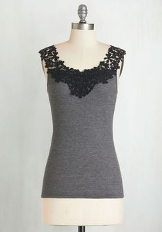 Dessert is Served Top in Charcoal. Debut your brand new recipe while showing off your just-as-sweet style in this charcoal-grey top. #grey #modcloth