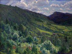 """ Thorvald Erichsen (Norwegian, Kviteseid, Telemark, Oil on canvas, x 132 cm. Scandinavian Art, Landscape Paintings, Oil On Canvas, Museum, Mountains, City, Travel, Image, Impressionism Art"