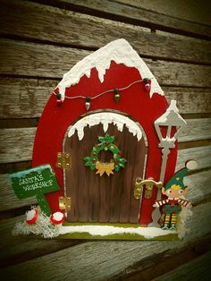 Hand-painted, wooden, hinged fairy doors on offer. All custom-made and available in your choice of s. Christmas Fairy, Christmas Makes, Christmas Door, Christmas Signs, Christmas Crafts, Christmas Decorations, Christmas Ornaments, Xmas, Diy Fairy Door
