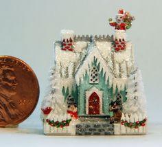 OOAK Handcrafted Miniature Dollhouse Christmas Putz Glitter House Santa Cottage #OOAK