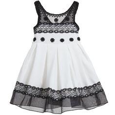 Bonnie Jean - Black & White Embroidered Lace Dress | Childrensalon