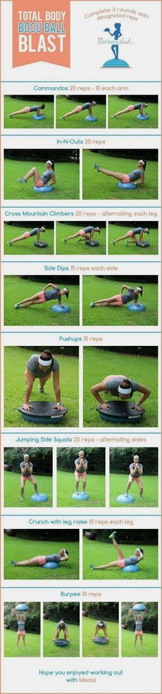 Bosu Ball Workout. A full body fitness routine designed to help you get strong and lean. #fitnessroutine #FitnessRoutine