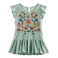 Girls 7-16 Miss Chievous Embroidered Lace Top, Girl's, Size: Medium, Med Green