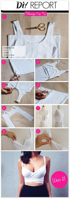 Make A Sexy DIY Wrap Top From Any Shirt http://www.fashionhacks.me/clothing-hacks/sexy-diy-wrap-top/