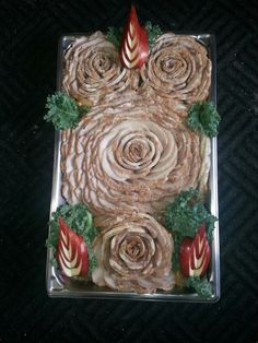 "Apple marinade pork loin made into roses for catering (pork sliders) ""By George"""