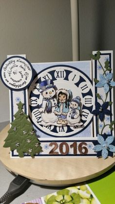 Kersrkaart klok 3d Cards, Winter Cards, Card Ideas, Christmas Cards, Scrap, Diy Crafts, Design, Happy New Year, Cards