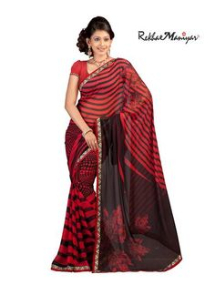 saree is made up of georgette Material and is printed allover with contemporary geometrical prints which makes the saree lokk bold and elegant . Also , the saree has Imitating red coloured stones over it which adds to the glow and look . The saree comprises of designer Kasab Border which suits the design of the saree . this Saree makes any Woman Wearing it look bold And Beautiful .