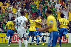 port, Football, FIFA World Cup, Dortmund, 27th June 2006, Brazil 3 v Ghana 0, Brazil striker, Ronaldo, (9) the centre of attention, having scored his 15th World Cup goal, becoming the World Cup all-time leading goalsorer, beating Gerd Muller's 14 goal record (Photo by Bob Thomas/Getty Images)