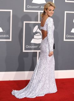 Carrie Underwoodblows us away in a salt-and-pepper dress at the 54th GRAMMY Awards in 2012