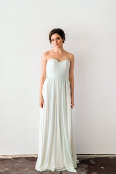 Silk Tulle Wedding Dress Mint Green Reception Dress Custom
