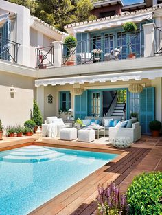 What a dream home architecture balcony Spanish style house pool patio Outdoor Rooms, Outdoor Living, Outdoor Areas, Outdoor Retreat, Outdoor Seating, Outdoor Furniture, Dream Pools, Cool Pools, My Dream Home