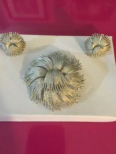 """Silver Tone """"Cordelia"""" Pin Brooch & Earrings Demi Parure by Monet. Monet's best selling Brooch of all times."""