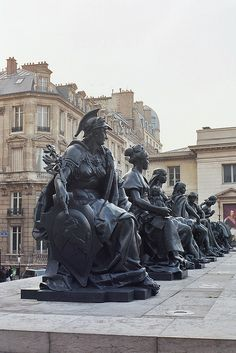 Les six continents. Paris - shows six allegorical statues created for the 1878 l'Exposition Universelle (Paris' third World's Fair). They are known as The Six Continents
