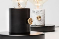 Marble lamp with a brass detail.