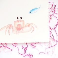No crabby crabs here! 😄🦀 This adorable watercolor Crab and Fish Friends print makes the perfect nursery decor for mothers who want to foster a love of nature for their new baby.