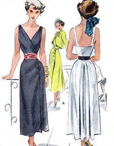 1940s Dress Pattern McCall 7514 V Neck Surplice Bodice Slim Skirt Dress Side Button Closing Bolero Womens Vintage Sewing Pattern