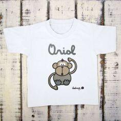Camiseta niño manga mono azul con tu nombre - Marketplace social de tiendas para niños de 0 a 14 años