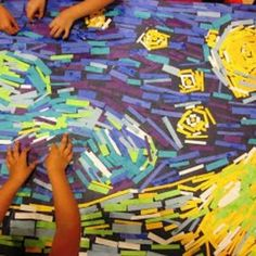 paper collage Van Gogh's Starry Night Arte Van Gogh, Van Gogh Art, Art Van, Group Art Projects, School Art Projects, Collaborative Art Projects For Kids, Kindergarten Art, Preschool Art, Vincent Van Gogh