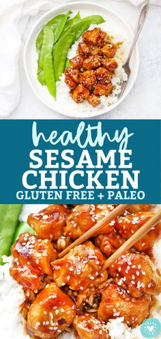 Healthy Sesame Chicken - Crispy Chicken coated in a tangy sweet sesame sauce. // Healthy Take Out Recipe // Paleo Sesame Chicken // Gluten Free Sesame Chicken // Sesame Chicken Stir-Fry Gluten Free Chinese Food, Gluten Free Recipes For Dinner, Vegetarian Recipes, Dinner Recipes, Healthy Recipes, Crispy Chicken, Real Food Recipes, Chicken Recipes, Amigurumi